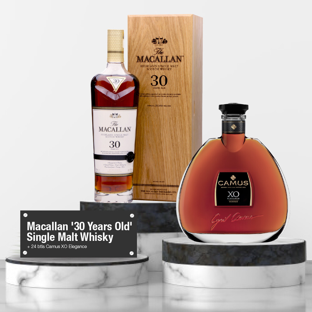 (Whisky + Cognacs) Macallan '30 Years Old' Single Malt Whisky Bundle Package