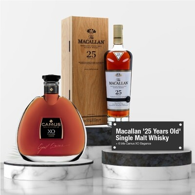 (Whisky + Cognacs) Macallan '25 Years Old' Single Malt Whisky Bundle Package