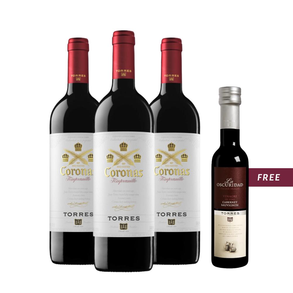 (Free Premium Vinegar) Torres 'Coronas' Tempranillo 3 Btls Pack