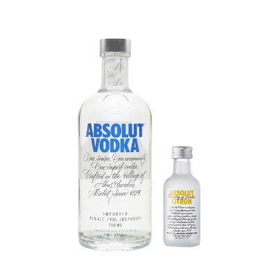 (Free Absolut 'Citron' Vodka 50ml Miniature) Absolut Vodka
