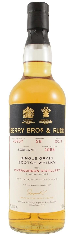 Berry Bros. & Rudd Single Grain Scotch Whisky – 29 Years Old 'Invergordon' Single Cask 1988