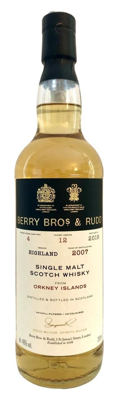 Berry Bros. & Rudd Single Malt Scotch Whisky – 12 Years Old 'Orkney Islands' Single Cask 2007