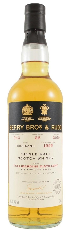 Berry Bros. & Rudd Single Malt Scotch Whisky – 26 Years Old 'Tullibardine' Single Cask 1993