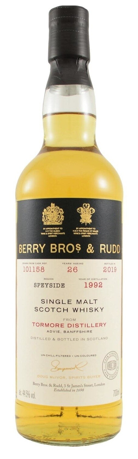 Berry Bros. & Rudd Single Malt Scotch Whisky – 26 Years Old 'Tormore' Single Cask 1992