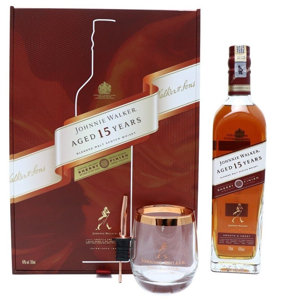 Johnnie Walker '15 Years Old Sherry Finish ' Blended Scotch Whisky (Limited Edition Gift Box with Pourer & Glass)