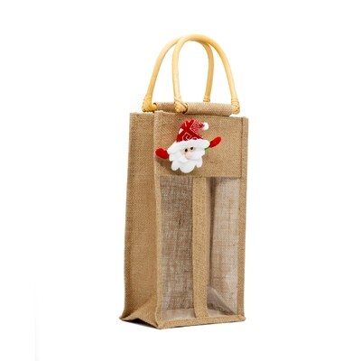 Jute Wine Bag with Divider - 2 btls size