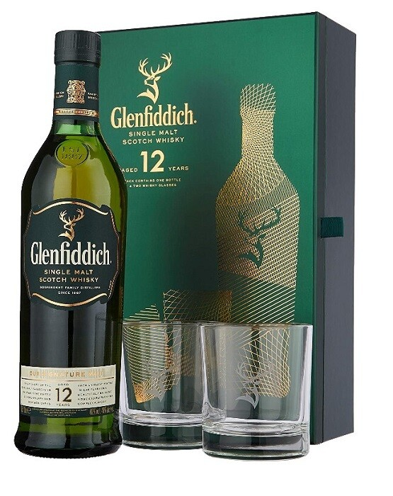 Glenfiddich '12 Years Old' Single Malt Scotch Whisky (Limited Edition Gift Pack with 2 Glasses)