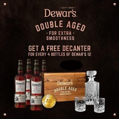 (Free Decanter & 2 Glasses) Dewar's '12 Years Old' Blended Scotch Whisky 4-Bottle Pack