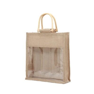 Jute Wine Bag with Divider - 3 btls size