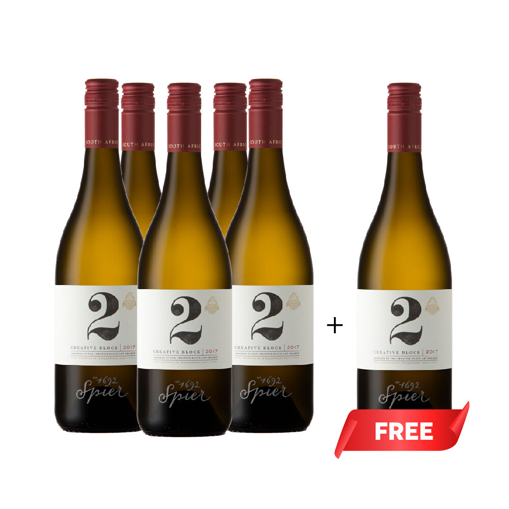 (Buy 5 Free 6th) Spier 'Creative Block 2' Sauvignon-Semillon