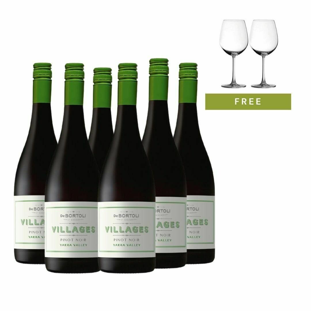 (Free 2 Glasses) Bundle of 6 De Bortoli 'Villages' Yarra Valley Pinot Noir