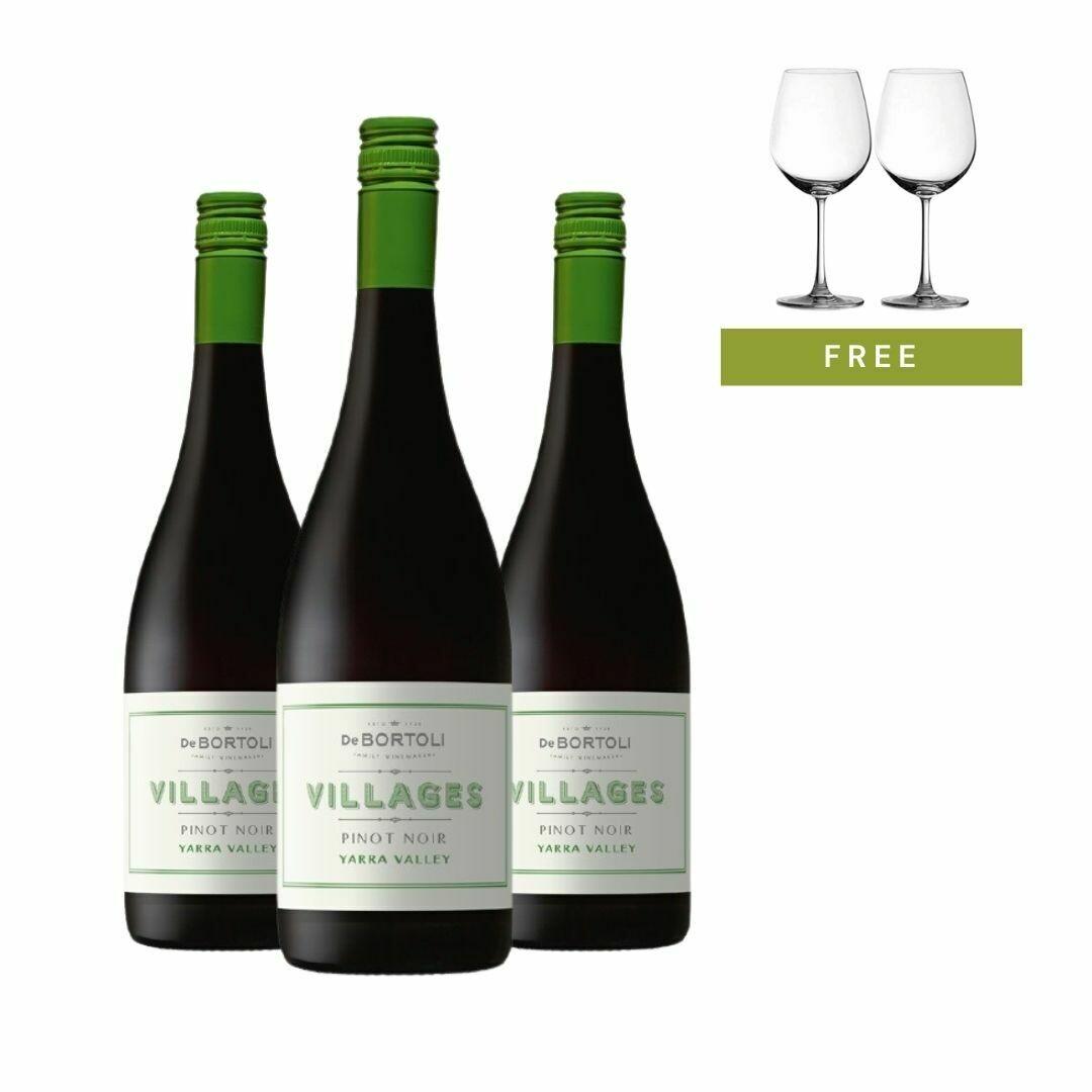 (Free 2 Glasses) Bundle of 3 De Bortoli 'Villages' Yarra Valley Pinot Noir