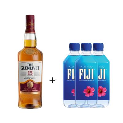 (Free 3 Fiji Water) The Glenlivet '15 Years Old' Single Malt Scotch Whisky
