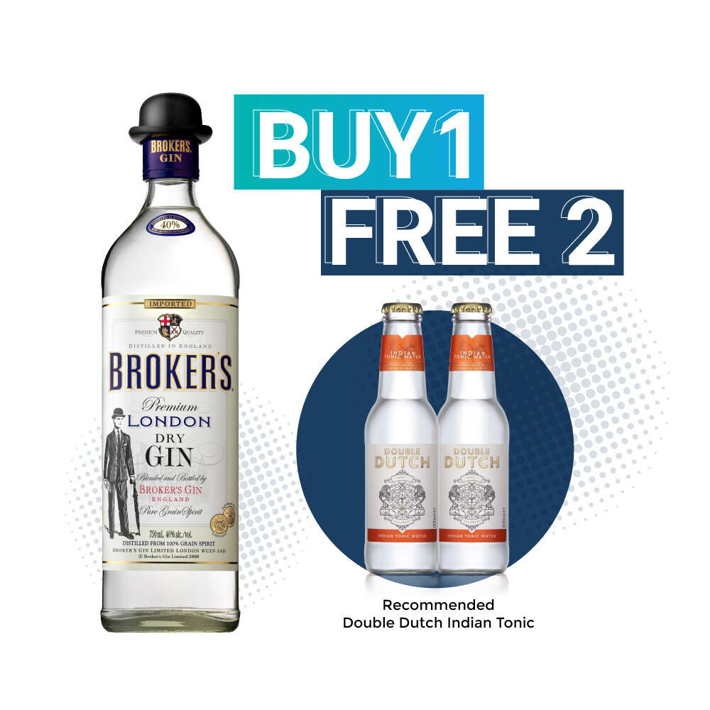 (Free Double Dutch Mixer ) Broker's London Dry Gin & Tonic