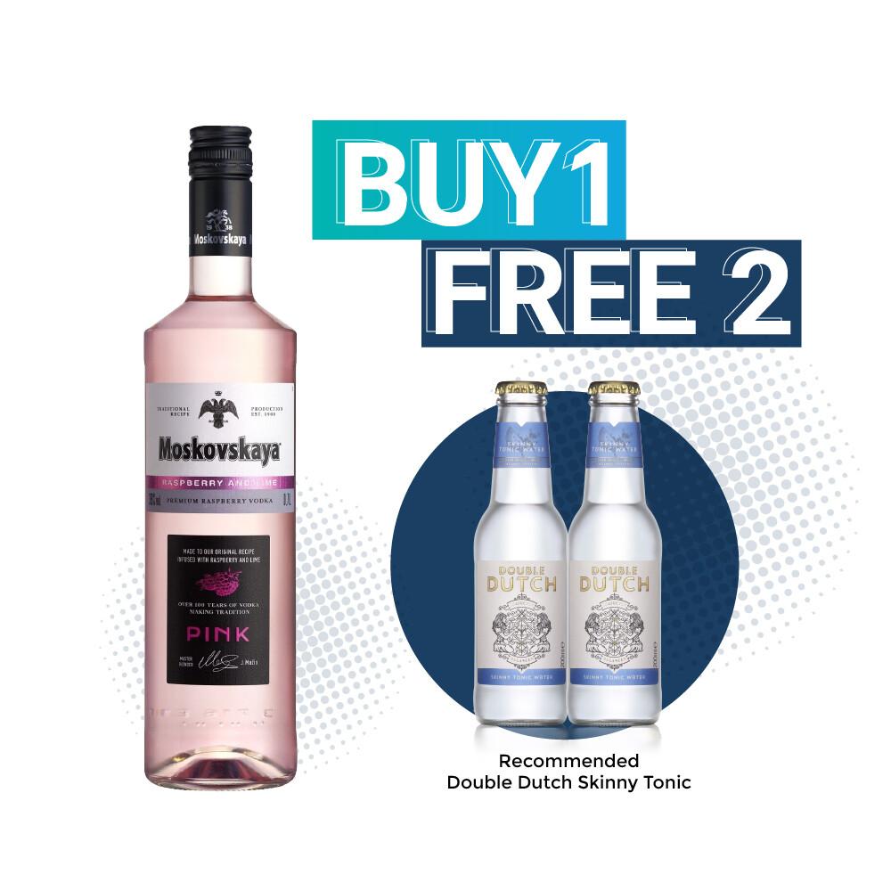 (Free Double Dutch) Moskovskaya 'Raspberry and Lime' Pink Vodka