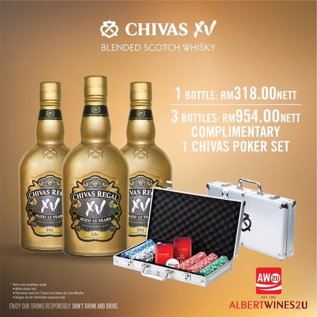 (Free Chivas Poker Set) Chivas Regal 'XV - 15 Years Old' Scotch Whisky 3-Btls Pack