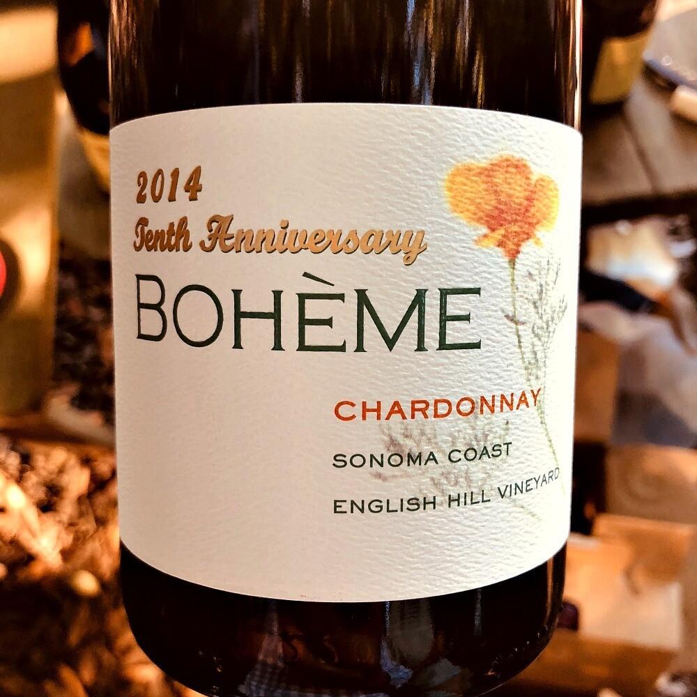 Boheme 10th Anniversary Chardonnay Sonoma Coast English Hill Vineyard 2014 *SALE*