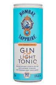 Bombay Sapphire Gin & Light Tonic Cocktail 4-pack 250ml cans