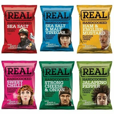 REAL Handcooked Crisps Mixed Box - 35g x 24 Bags