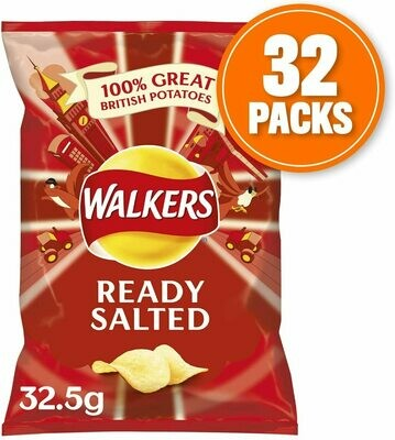 Walkers Crisp Ready Salted 32.5g Bags (Box of 32)