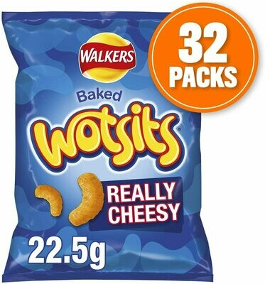 Walkers Crisps Wotsits Really Cheesy Snacks Box, 22.5 g, Case of 32