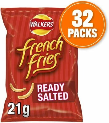 Walkers Crisps French Fries Ready Salted Snacks Box, 21 g, Case of 32