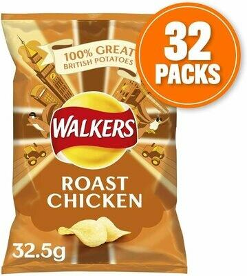 Walkers Roast Chicken Crisps Box, 32.5 g, Case of 32