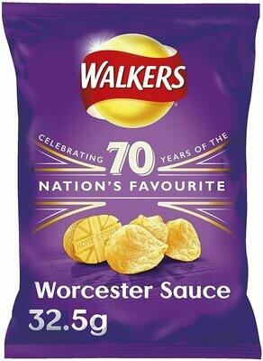 Walkers Worcester Sauce Crisps Box, 32.5 g, Case of 32