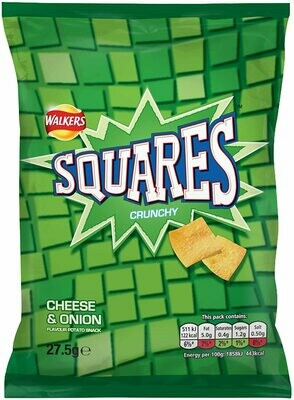 Walkers Crisps Squares Cheese and Onion Snacks Box, 27.5 g (Case of 32)