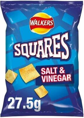Walkers Squares Salt and Vinegar Snacks Case, 27.5 g (Case of 32)