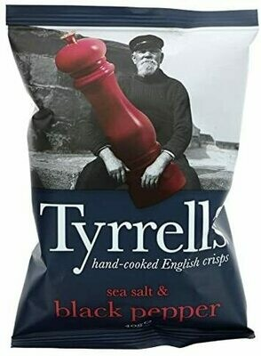 Tyrrells Sea Salt and Black Pepper Crisps 40 g (Pack of 24)