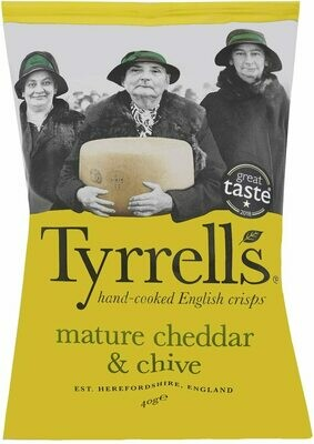 Tyrells Cheddar and Chive Chips 40 g (Pack of 24)