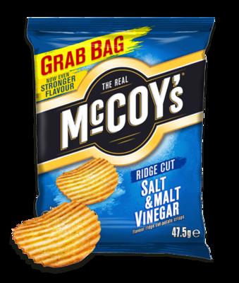 McCoys Ridged Crisps SALT & MALT VINEGAR 47.5g x 30 Bags