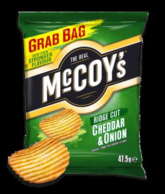 McCoys Ridged Crisps CHEDDAR & ONION 47.5g x 30 Bags