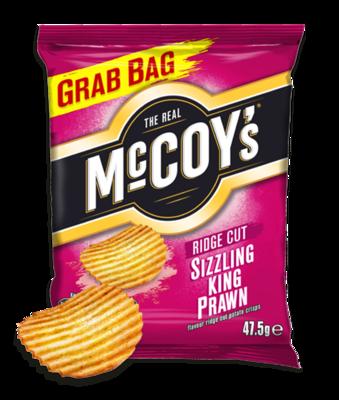 McCoys Ridged Crisps SIZZLING KING PRAWN 47.5g x 30 Bags