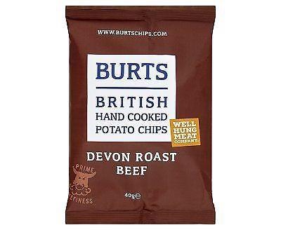 Burts British Hand Cooked Potato Crisps Devon Roast Beef 40g x 20 Bags