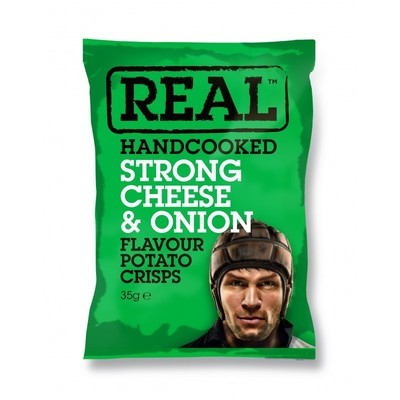 REAL Handcooked Crisps Strong Cheese & Onion - 35g x 24 Bags