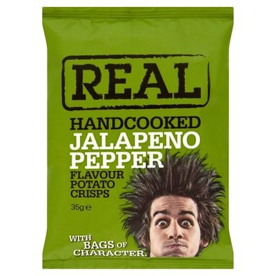 REAL Handcooked Crisps Jalapeno Pepper - 35g x 24 Bags