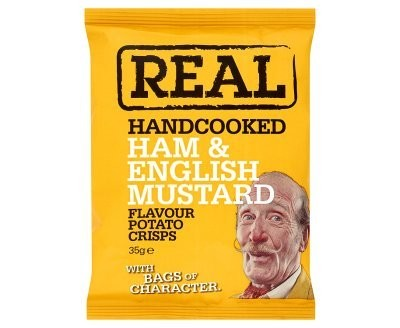 REAL Handcooked Crisps Ham & English Mustard - 35g x 24 Bags