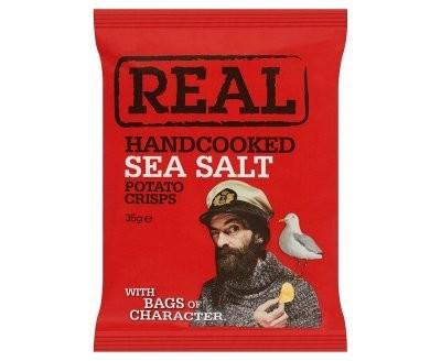 REAL Handcooked Sea Salt Potato Crisps - 35g x 24 Bags
