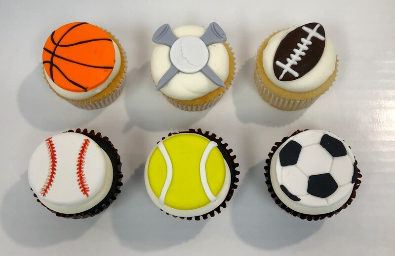 Sports Theme Decorated Cupcakes