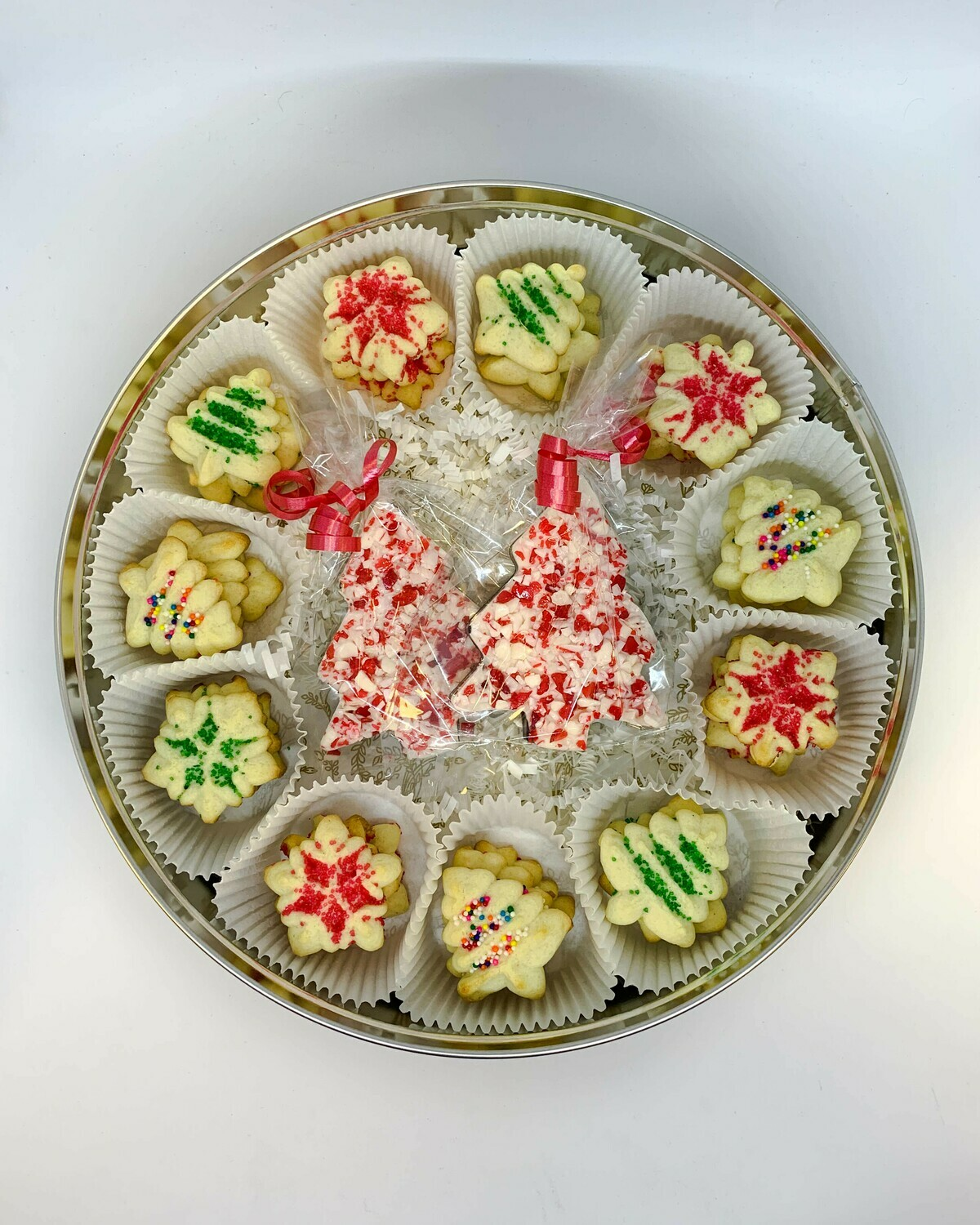 Butter Cookies & Peanut Blossoms with Candy Bark Tin