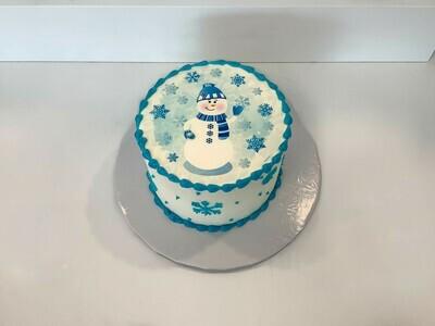 Friendly Snowman Cake