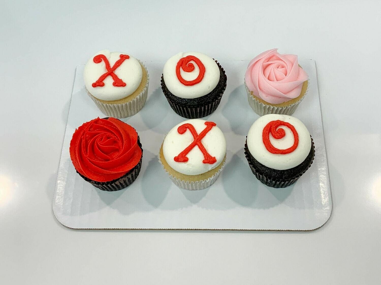 Xoxo and Rosette Half Dozen Cupcakes