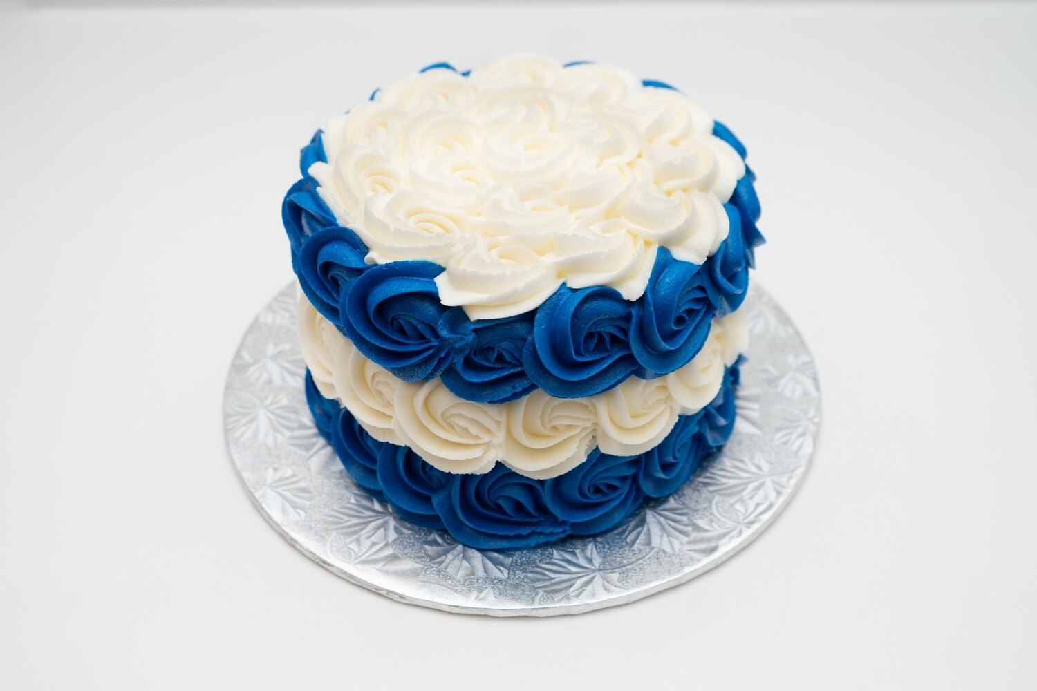 Blue and White Rosette Cake
