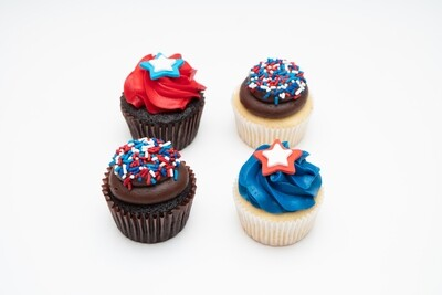 Fourth of July 4 Pack of Cupcakes