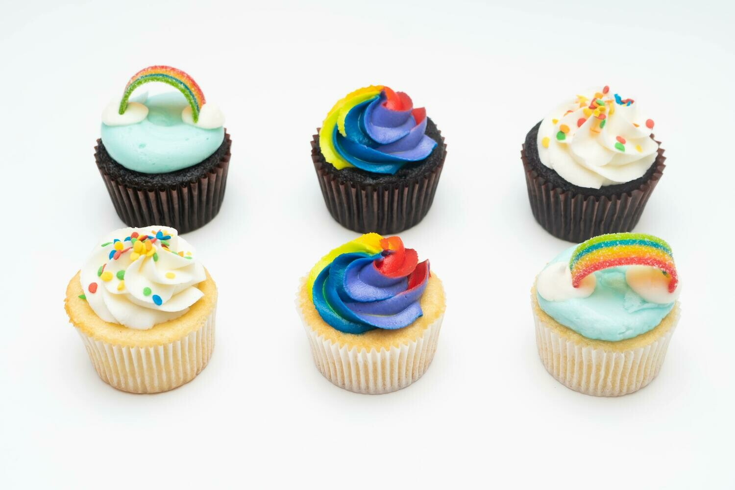 Rainbow Decorated Cupcakes