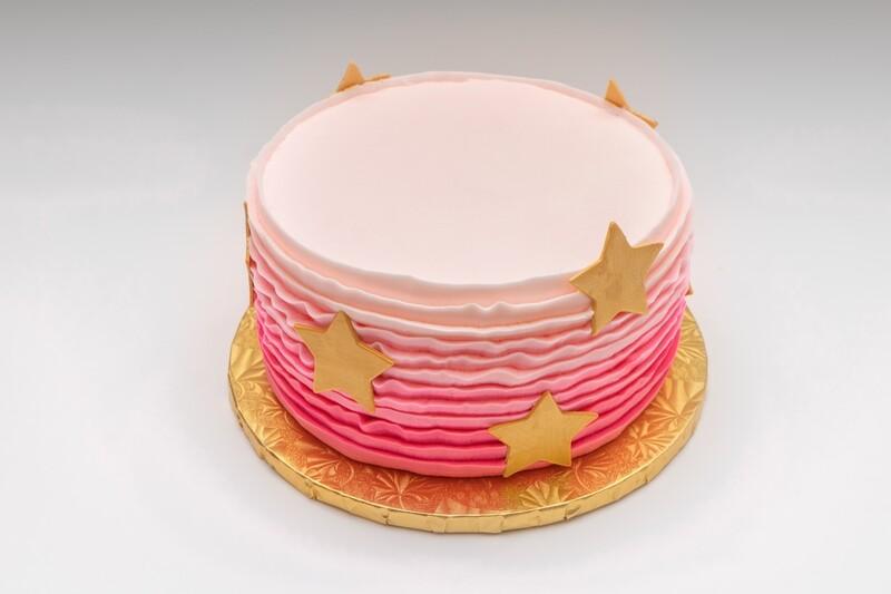 Ombre Ruffle Golden Star Cake