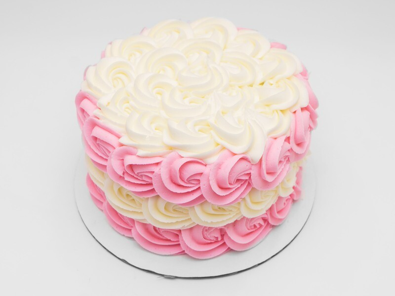 Pink and White Rosette Cake