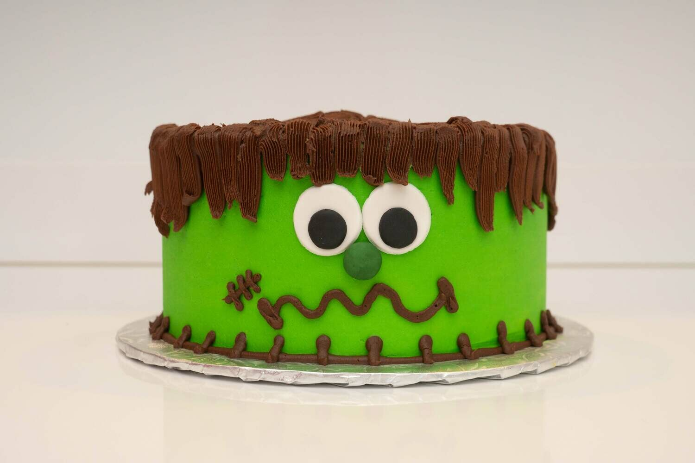 Green Monster Face Cake